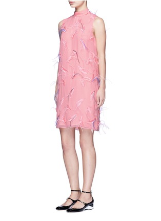 Emilio Pucci-Ostrich feather embroidery tie waist  dress