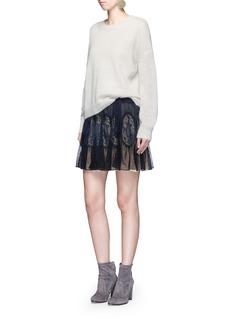 ChloéDrawstring mousseline lace insert flare skirt