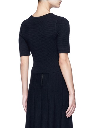 Back View - Click To Enlarge - alice + olivia - 'Rhodes' horizontal ottomanknit cropped top