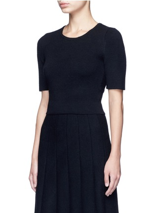 Front View - Click To Enlarge - alice + olivia - 'Rhodes' horizontal ottomanknit cropped top