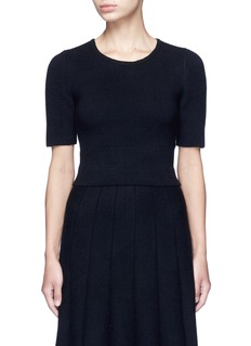 alice + olivia 'Rhodes' horizontal ottomanknit cropped top