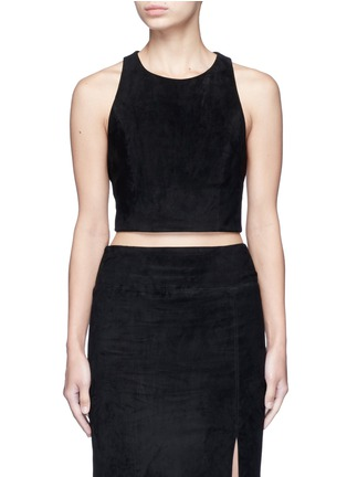 Main View - Click To Enlarge - alice + olivia - Lambskin suede racerback cropped top