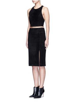 Figure View - Click To Enlarge - alice + olivia - Lambskin suede racerback cropped top