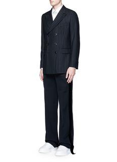 Alexander McQueenVelvet trim wide leg tuxedo pants