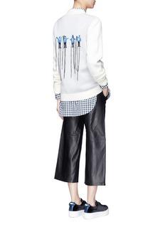 Ground-Zero'YEAH' embroidery Merino wool cardigan