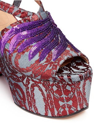 Detail View - Click To Enlarge - Dries Van Noten - Sequin wing floral brocade platform wedge sandals