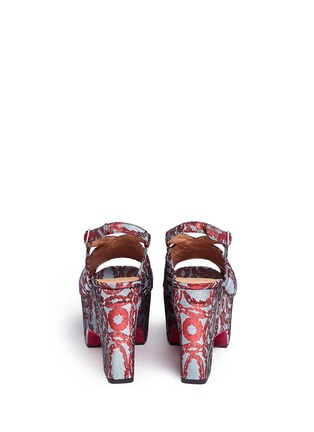 Back View - Click To Enlarge - Dries Van Noten - Sequin wing floral brocade platform wedge sandals