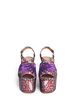 Front View - Click To Enlarge - Dries Van Noten - Sequin wing floral brocade platform wedge sandals
