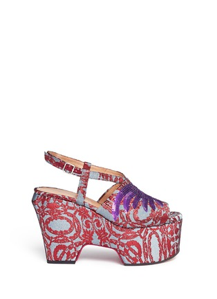 Main View - Click To Enlarge - Dries Van Noten - Sequin wing floral brocade platform wedge sandals