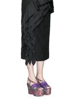 Sequin wing floral brocade platform wedge sandals