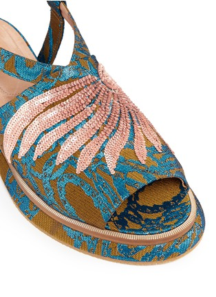 Detail View - Click To Enlarge - Dries Van Noten - Sequin wing embellished floral brocade sandals