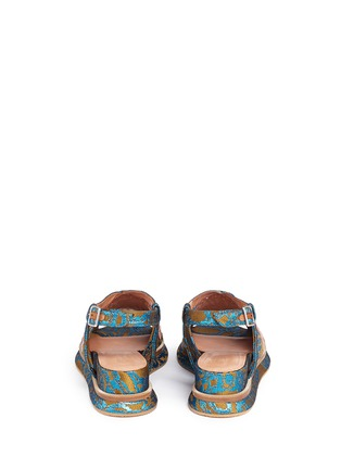 Back View - Click To Enlarge - Dries Van Noten - Sequin wing embellished floral brocade sandals