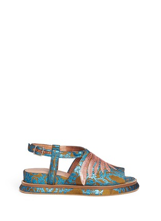 Main View - Click To Enlarge - Dries Van Noten - Sequin wing embellished floral brocade sandals
