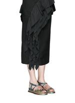 Sequin wing embellished floral brocade sandals