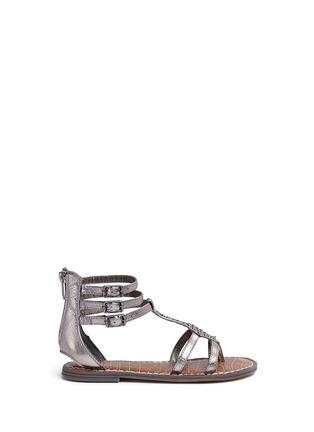 Main View - Click To Enlarge - Sam Edelman - 'Amber' stud snakeskin embossed kids sandals