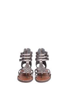 SAM EDELMAN'Amber' stud snakeskin embossed kids sandals