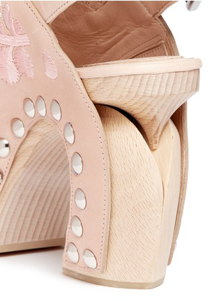 Detail View - Click To Enlarge - Alexander McQueen - 'Spitalfields' embroidered leather wooden clog sandals