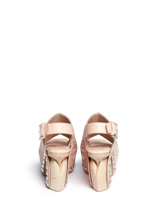 Back View - Click To Enlarge - Alexander McQueen - 'Spitalfields' embroidered leather wooden clog sandals