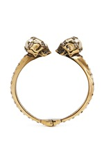 Twin skull faux pearl bangle