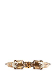 ALEXANDER MCQUEEN Twin skull faux pearl bangle