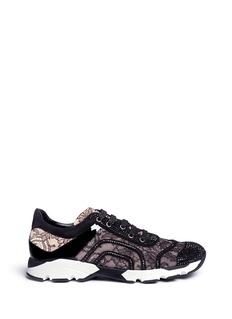 RENÉ CAOVILLAStrass pavé suede lace sneakers