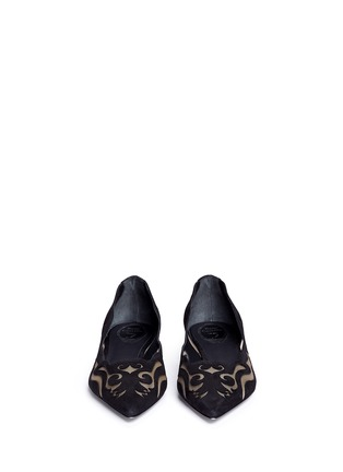 Front View - Click To Enlarge - René Caovilla - Wavy cutout suede skimmer flats