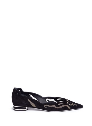 Main View - Click To Enlarge - René Caovilla - Wavy cutout suede skimmer flats