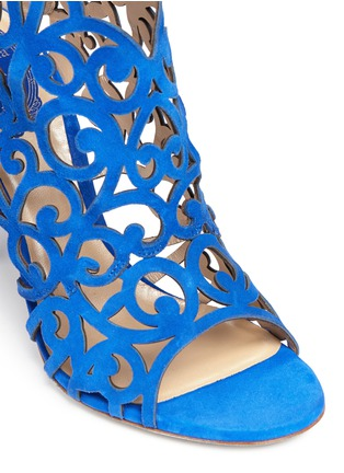 Detail View - Click To Enlarge - René Caovilla - Swirl cutout suede sandal booties