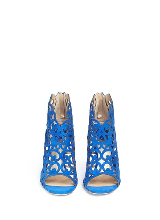 Front View - Click To Enlarge - René Caovilla - Swirl cutout suede sandal booties