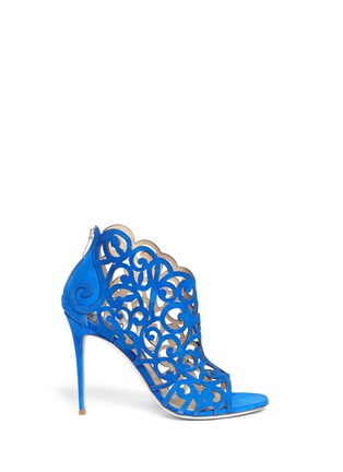 Main View - Click To Enlarge - René Caovilla - Swirl cutout suede sandal booties