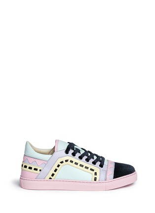 Main View - Click To Enlarge - Sophia Webster - 'Riko' geometric trim leather combo sneakers