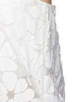 Floral paper appliqué organza strapless top