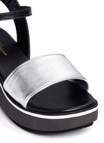 'Penny' metallic leather band flatform sandals