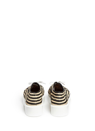 Back View - Click To Enlarge - Robert Clergerie - 'Paga' colourblock Aztec raffia flatform Derbies