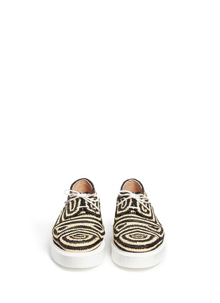 Front View - Click To Enlarge - Robert Clergerie - 'Paga' colourblock Aztec raffia flatform Derbies