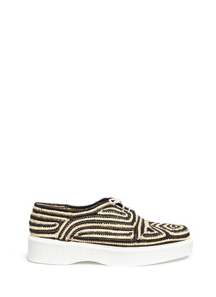 Main View - Click To Enlarge - Robert Clergerie - 'Paga' colourblock Aztec raffia flatform Derbies