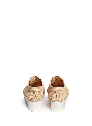 Back View - Click To Enlarge - Robert Clergerie - 'Vicolek' braided raffia wedge lace-ups