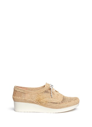Main View - Click To Enlarge - Robert Clergerie - 'Vicolek' braided raffia wedge lace-ups
