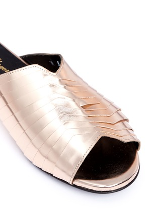 Robert Clergerie-'Gamure' pleated metallic leather slide mules