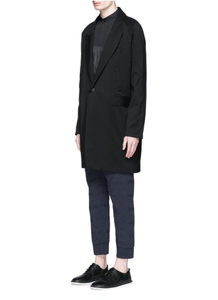 Front View - Click To Enlarge - Song for the Mute - Vertical pocket raglan sleeve wool-silk coat