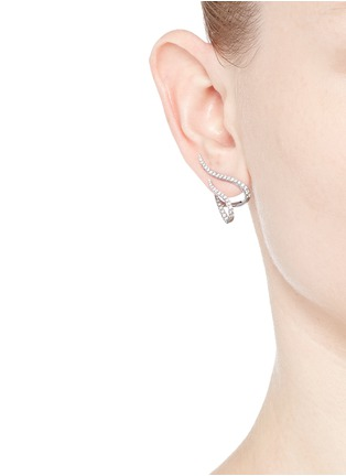 Figure View - Click To Enlarge - Messika - 'Daisy' diamond 18k white gold earrings