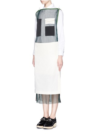 Figure View - Click To Enlarge - TOGA ARCHIVES - Skirt overlay patchwork mesh dress