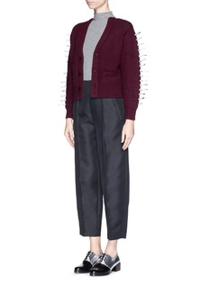 TOGA ARCHIVES Faux leather ribbon knit cardigan