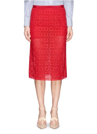 Main View - Click To Enlarge - SACAI LUCK - Knit shorts underlay broderie anglaise skirt