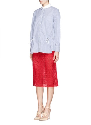 Figure View - Click To Enlarge - SACAI LUCK - Knit shorts underlay broderie anglaise skirt