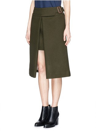 Front View - Click To Enlarge - SACAI LUCK - Wool felt wrap skirt