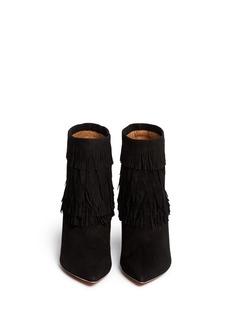 AQUAZZURA'Sasha' suede fringe ankle boots