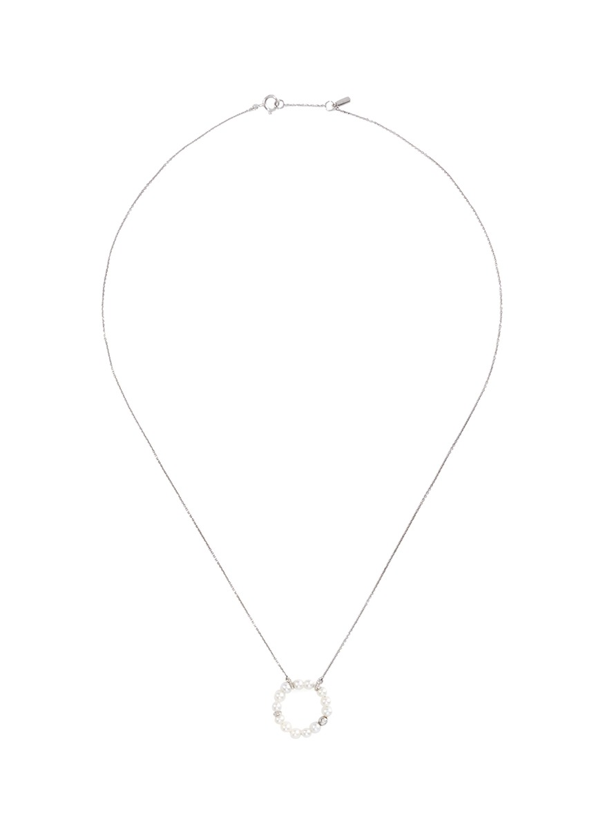 Diamond pearl hoop necklace by Bao Bao Wan