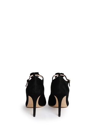 Back View - Click To Enlarge - Kate Spade - 'Noland' ribbon crystal T-strap suede pumps