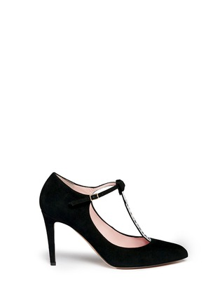 Main View - Click To Enlarge - Kate Spade - 'Noland' ribbon crystal T-strap suede pumps